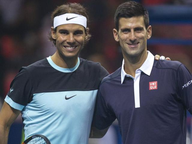 Rafael Nadal of Spain, left, and Novak Djokovic of Serbia pose for a photograph before their
