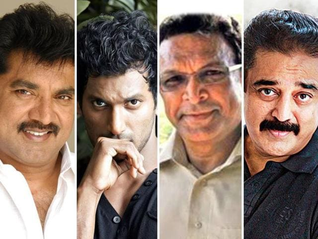 (From left to right) Sarath Kumar, Vishal, Nasser and Kamal Haasan. The elections to the powerful film and theatre artist's body of South India, Nadigar Sangham, this year will see a clash between actors Sarath Kumar and Vishal.