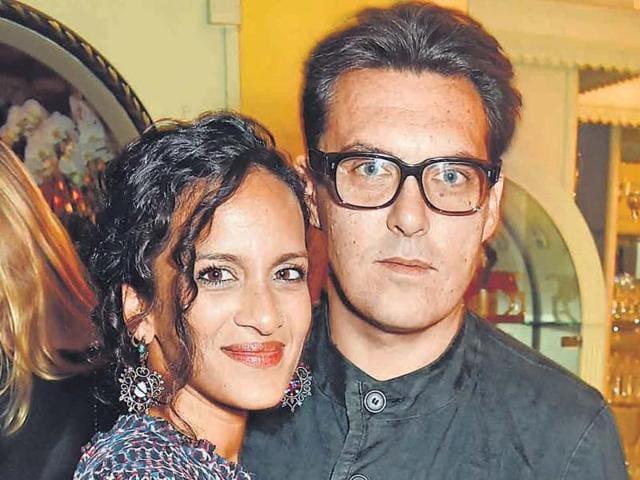 Director Joe Wright with his wife sitar player Anoushka Shankar.