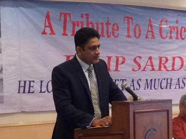 Anil Kumble delivering the Dilip Sardesai memorial lecture.