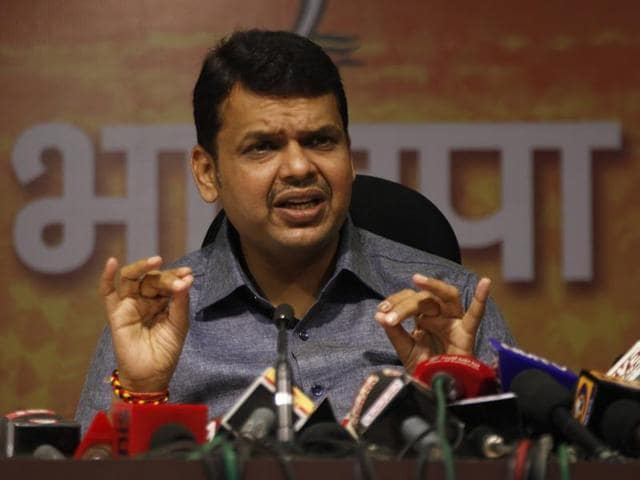 Maharashtra CM Devendra Fadnavis addressing media during press conference at BJP office in Mumbai.