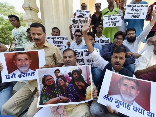 All India Majlis-e-Ittehad-ul-Muslimeen (AIMIM) protest against Dadri lynching incident at GPO in Lucknow on Saturday.