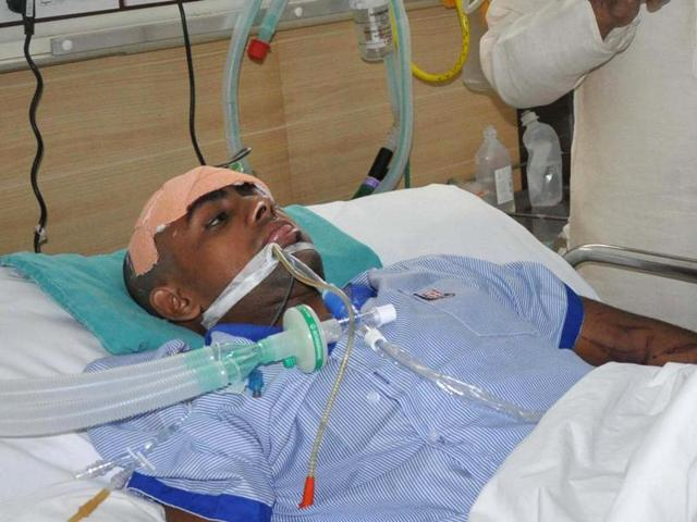 Mohammad Ikhlaq son Danish being treated in hospital.