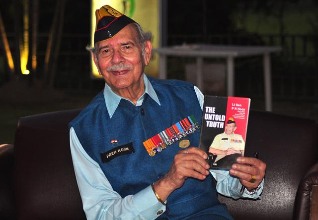 Lt Gen PN Hoon during his book release at Chandigarh golf club on Saturday.