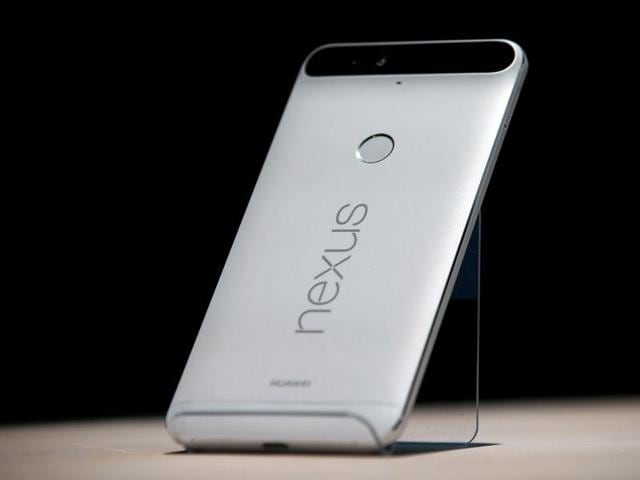The new Nexus 6P phone is displayed during a Google media event.