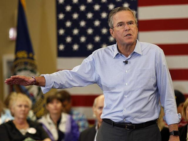 Republican presidential candidate and former Florida governor Jeb Bush speaks during a campaign stop in Bedford.
