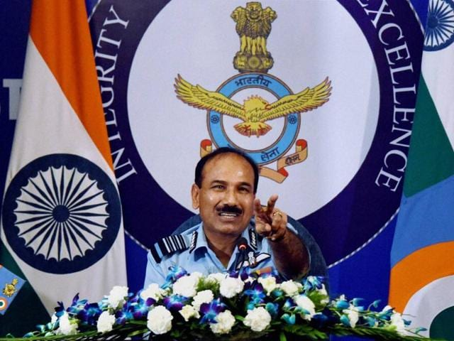 Chief of Indian Air Force (IAF), Air Chief Marshal Arup Raha, addresses a press conference in New Delhi.