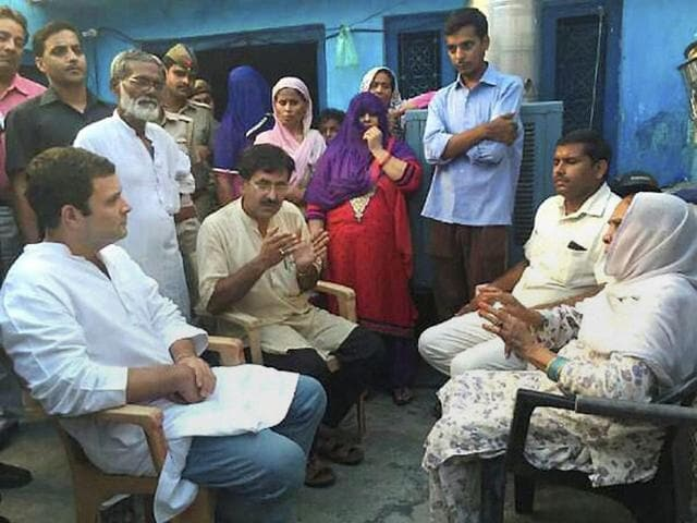 Congress vice president Rahul Gandhi meeting the family of Mohd Ikhlaq, who was lynched by a mob recently, at Bisara village in Dadri on Saturday.