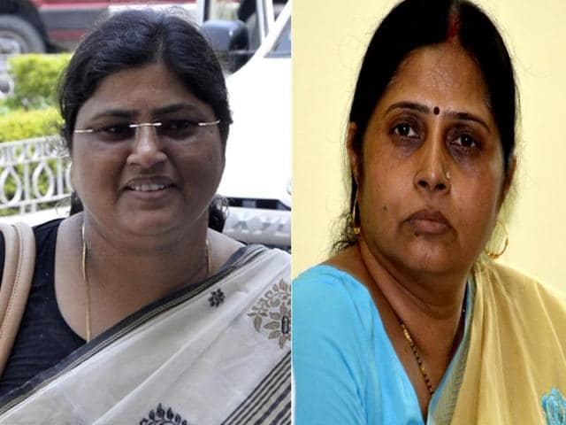 Combination photo of candidates in Bihar -- Lishi Sigha (L) and Renu Kushwaha (R).