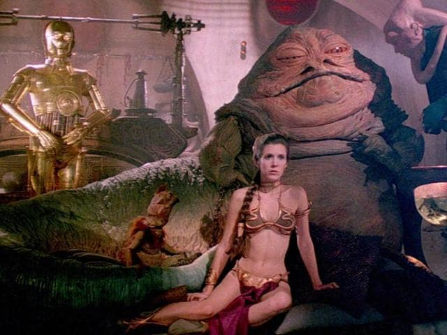 Princess Leia wore the bikini after she was captured by Jabba the Hutt on the desert planet Tatooine.