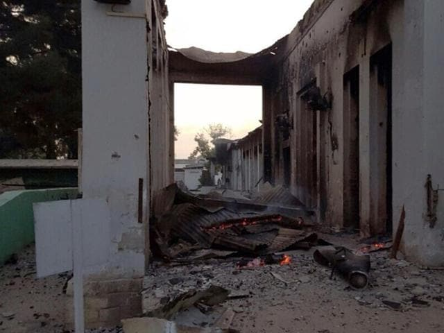 In this photograph released by Medecins Sans Frontieres (MSF), part of the MSF hospital in Kunduz is  aflame after it was hit by an air strike that left three Doctors Without Borders staff dead and dozens more unaccounted for.