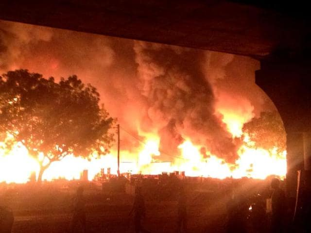 Fire broke out in a furniture market in Sikanderpur, Gurgaon.