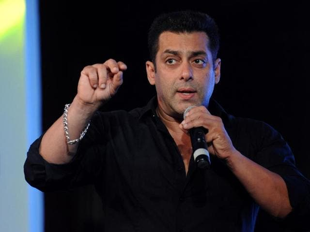 Salman Khan speaks onstage during a promotional event in Mumbai.