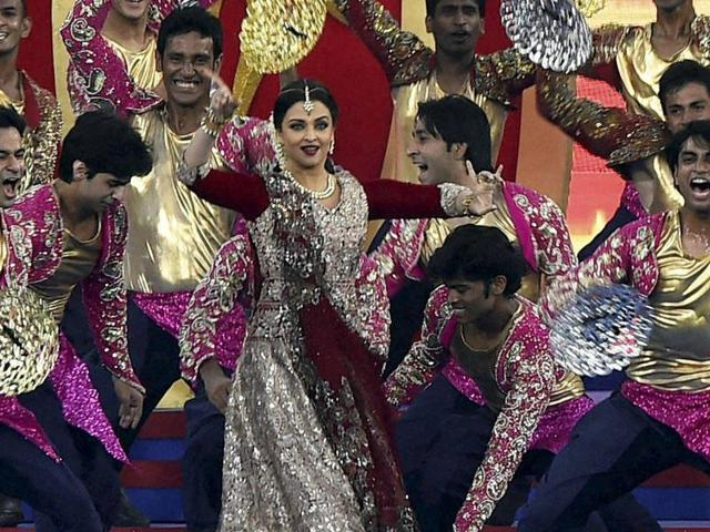 Aishwarya Rai Bachchan along with dancers performing during the opening ceremony of ISL2015 in Chennai on Saturday.