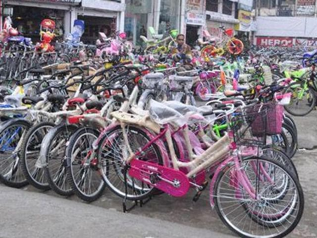 The district administration distributed bicycles to girls studying in Classes 11 and 12 of government schools in Patiala on Monday.
