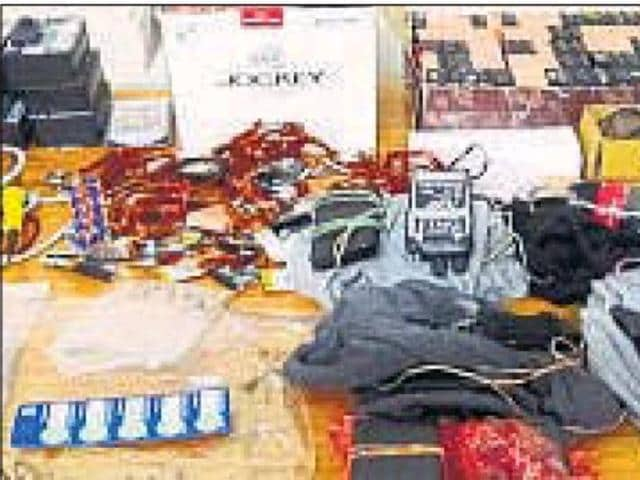 The Bluetooth devices and undergarments seized by SOG from a factory in Delhi.