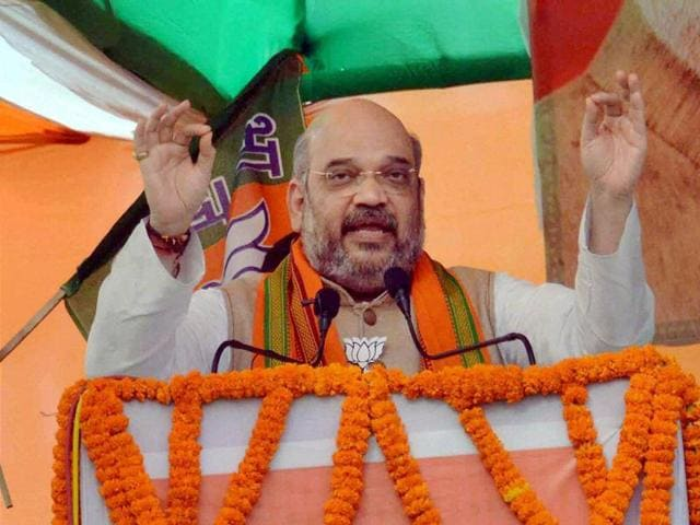 BJP president Amit Shah addresses party workers meeting in Patna.(PTI file photo)