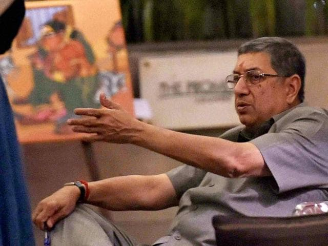 Former BCCI chief N Srinivasan sitting in the hotel after after a BCCI meeting.