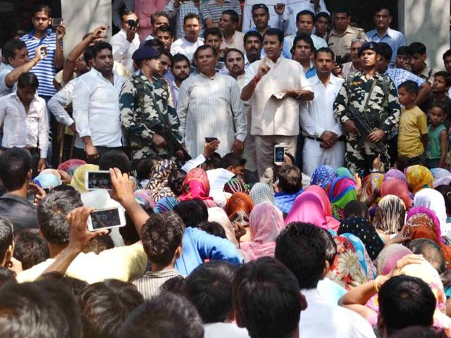 BJP MLA and one of Muzaffarnagar riots accused Sangeet Som visits the accused's family, addresses a public meeting despite prohibitory orders, in Bisdada village.