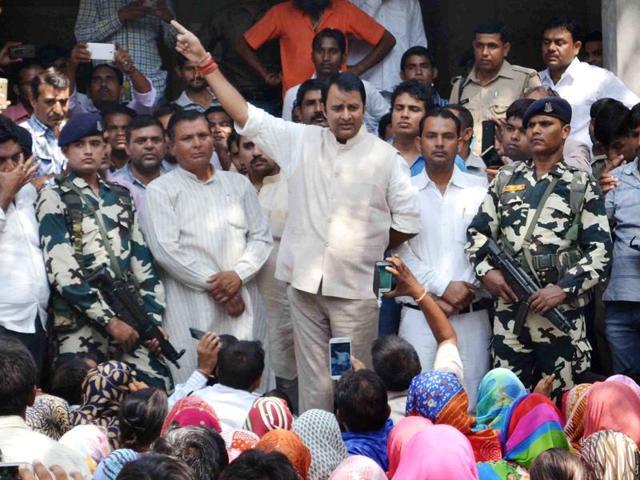BJP MLA and one of Muzaffarnagar riots accused Sangeet Som visits the Dadri in Greater Noida.
