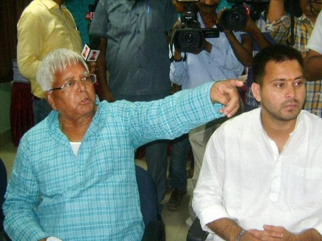 RJD chief Lalu Prasad during the filing of nomination papers by his son and party candidate from Raghopur, Tejashwi Yadav in Hajipur.