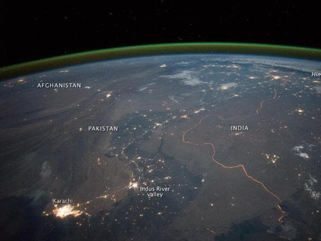 The India-Pakistan border, as seem from the International Space Station.
