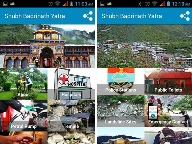 The Badrinath Yatra mobile app will have information about ATMs, petrol pumps, hotels, restaurants, potable water, toilets, parkings, bus stands, taxi stands and repair shops.