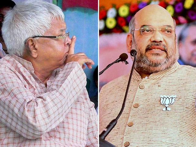 FIRs were lodged against RJD chief Lalu Prasad (R)  and BJP president Amit Shah (L) on Tuesday ahead of the Bihar assembly polls.