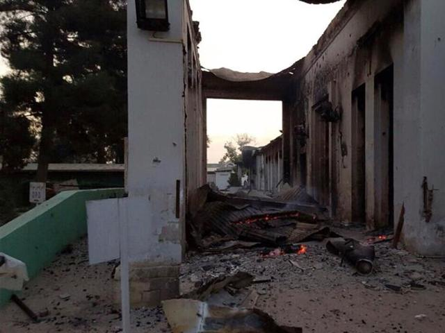 The burnt Doctors Without Borders hospital is seen after an explosion in the northern Afghan city of Kunduz, on October 3, 2015.