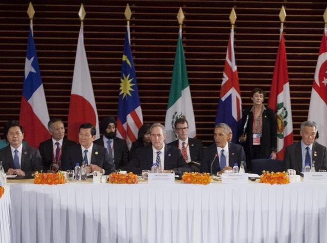 US President Barack Obama, centre, speaks during his meeting with leaders of the Trans-Pacific Partnership countries. The United States and 11 other Pacific Rim countries agreed to the Trans-Pacific Partnership, an ambitious and controversial trade pact that cuts trade barriers, sets labour and environmental standards and protects multinational corporations' intellectual property.