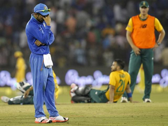 India were bowled out for 92, their second-lowest T20 score. Upset fans threw bottles on the field, leading to almost an hour-long disruption.
