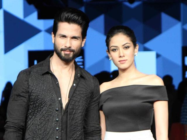 Shahid Kapoor with wife Meera Rajput displays Masaba Gupta collection during the Lakme Fashion Week Winter Festival.