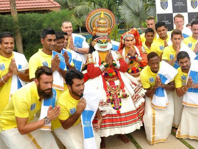 Kerala Blasters players dressed in dhotis during a promotional event in Kochi, on October 3, 2015.