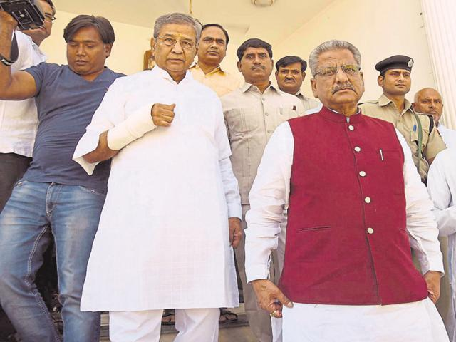 State BJP vice-president Om Mathur visits BJP MLA Ghanshyam Tiwari at the latter's residence in Jaipur on Monday.