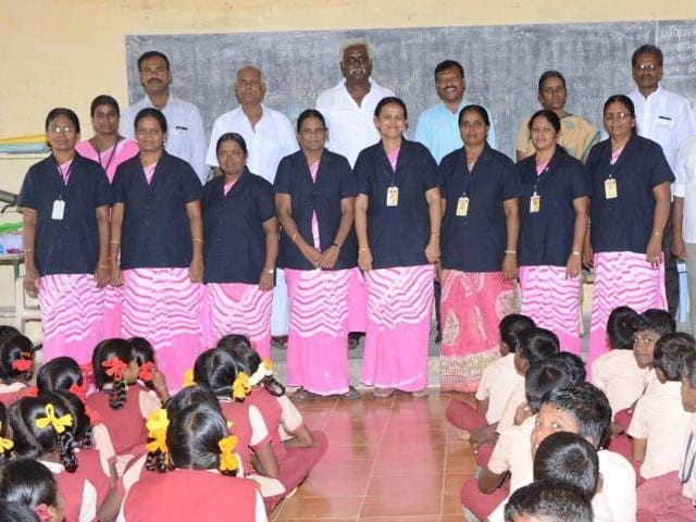 Black overcoats have been provided to school teachers to protect them from lewd comments and stares at a school in village in Madurai district. All eight lady teachers of the school can be seen dressed in overcoats.
