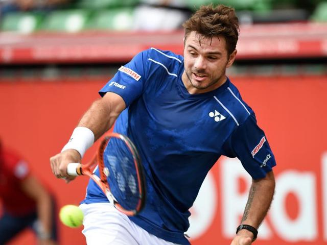 Stan Wawrinka of Switzerland after winning a point against Radek Stepanek of Czech Republic during the first round of the Japan Open in Tokyo, on October 6, 2015.