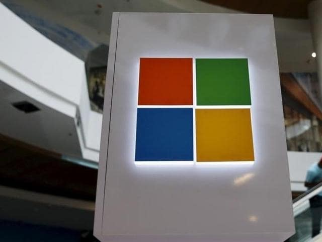 A Microsoft logo is seen at a pop-up site for the new Windows 10 operating system at Roosevelt Field in Garden City, New York.