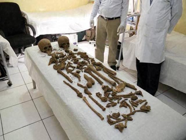 In this image provided by the Afghan Presidential Palace, parts of two human skeletons are seen that were found in the vicinity of Palace No. 1 in the presidential palace compound