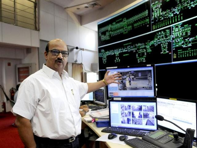 New Delhi, India - Oct. 5, 2015: Director of Operations in DMRC, Sharat Sharma at the control room. The control Room for the metro stations in action in the background at the Metro Bhawan in Connaught Place in New Delhi, India, on Monday, October 5, 2015. (Photo by Saumya Khandelwal/ Hindustan Times)