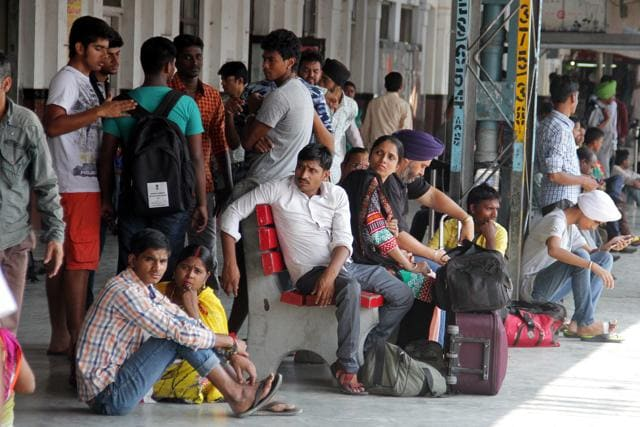 Passengers waiting for trains at the Ludhiana railway station caused due to the farmers rail roko agitation.(J S Grewal/HT Photo)
