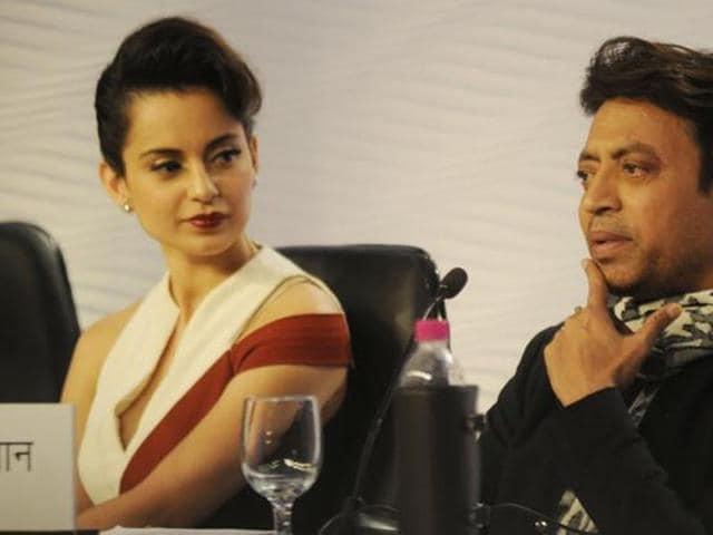 Irrfan Khan and Kangana Ranaut at a promotional event.