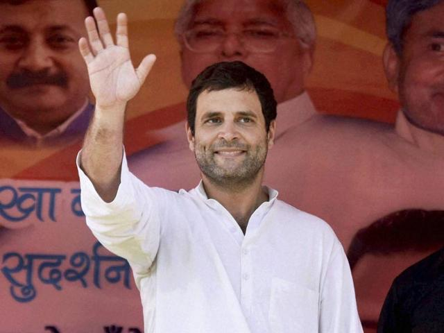 Congress vice-president Rahul Gandhi waves at crowd of supporters during an election rally in Barbigha on Wednesday.