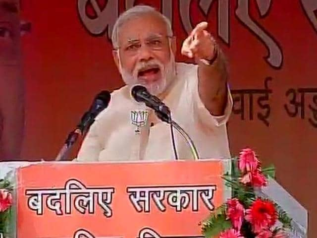Prime Minister Narendra Modi at a poll rally in Bihar's Munger on Thursday.