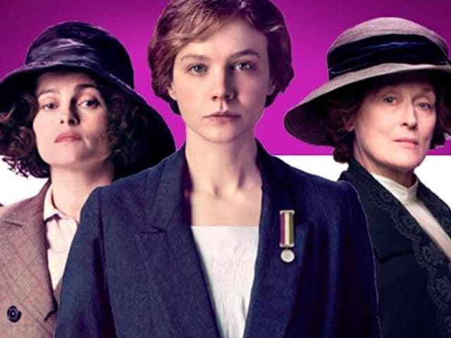 Suffragette stars Hollywood legend Meryl Streep, British actors Carey Mulligan (centre) and Helena Bonham Carter.