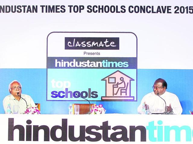 (From left) Jitendra Shah, founding member, Forum for Fairness in Education; Father Francis Swamy, joint-secretary, Archdiocesan Board of Education; and Manoj Nair, associate editor, Hindustan Times, were the panellists at Wednesday's discussion on the state government's no-fail policy.