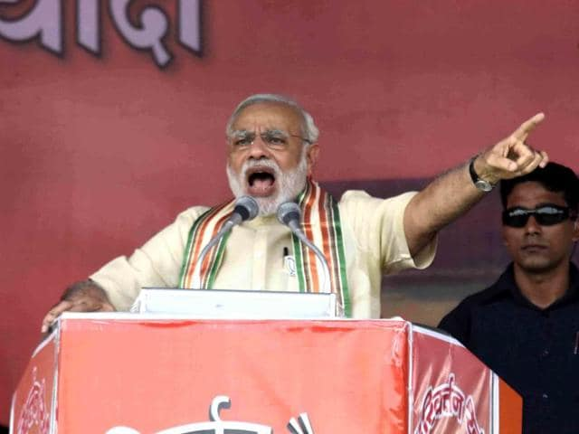 Narendra Modi addressing a BJP rally in Bhagalpur for the Bihar elections.
