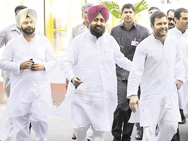 Congress leader Rahul Gandhi along with Punjab Congress president Partap Singh Bajwa and others at the Panjab University campus on Thursday.