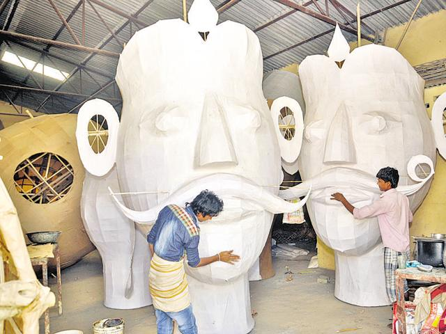 Muslim artisans from western Uttar Pradesh come and stay in Ghaziabad to prepare the effigies for Ramlila celebrations.