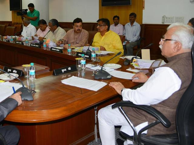 Haryana chief minister Manohar Lal Khattar presding over a meeting of the state cabinet in Chandigarh on Thursday.