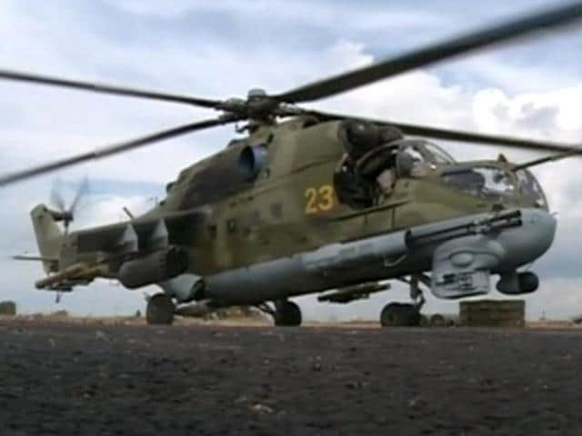 A Russian air force helicopter on the tarmac of Heymim air base near the Syrian port town of Latakia.